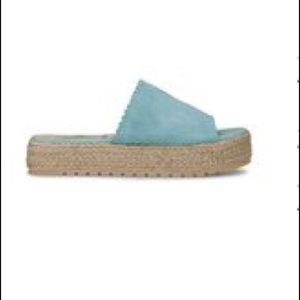 🔥 Blue Scalloped Suede Platform Slide NOW $20.00